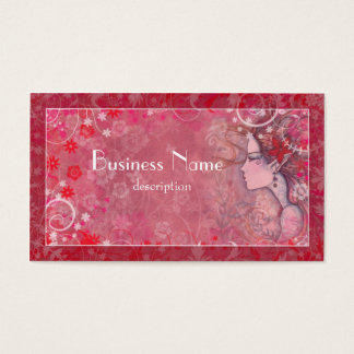 Flowers Pink Red and White with Illustrated Woman Business Card