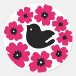 flowers (Pink) Round Stickers