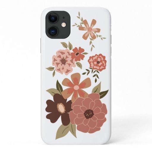 Flowers Pink Shades Green Vines Sweet Motifs iPhone 11 Case
