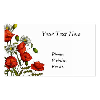 Flowers, Poppies and Daisies, Hand Drawn Art Business Card