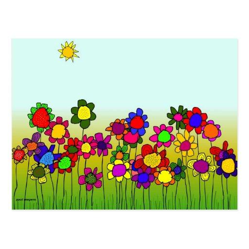 'flowers' postcard