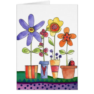 Flowers pots greeting card