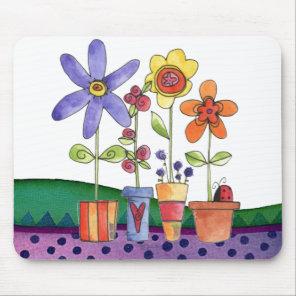 Flowers pots mouse pad