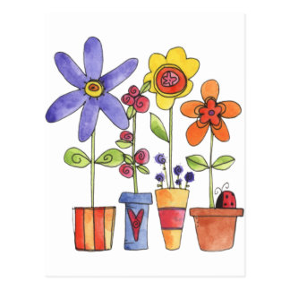 Flowers pots postcard