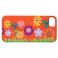 Flowers, pretty flowers with an orange background iPhone 5 cases