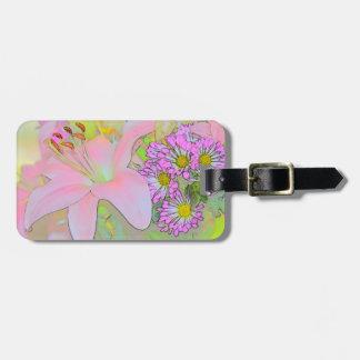 Flowers Pretty  Luggage Tag w/ leather strap