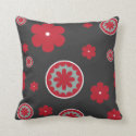 Flowers Red and Teal on Black Throw Pillow