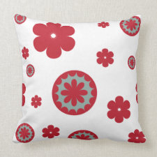 Flowers Red and Teal on White Throw Pillow