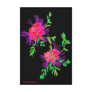 Flowers Red, Black Art on Canvas