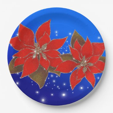 Christmas Themed Flowers red of Christmas on blue bottom Paper Plate