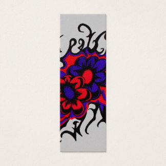 Flowers Red Purple Inverted Colors Ink Drawing Mini Business Card