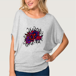 Flowers Red Purple Inverted Colors Ink Drawing T-shirt