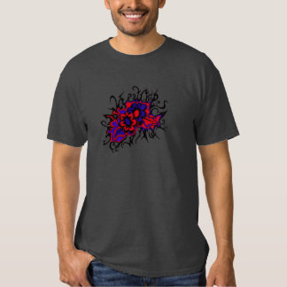 Flowers Red Purple Inverted Colors Ink Drawing Tees