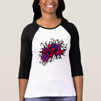 Flowers Red Purple Inverted Colors Ink Drawing Tshirts