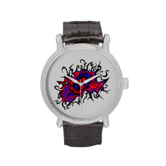 Flowers Red Purple Inverted Colors Ink Drawing Wristwatch