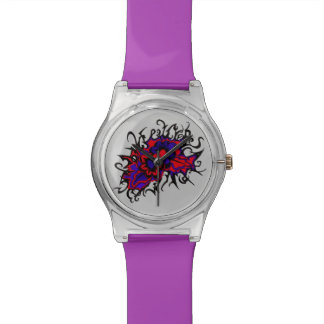 Flowers Red Purple Inverted Colors Ink Drawing Watch