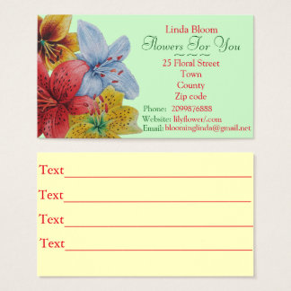 flowers red yellow blue Lilies original florists Business Card