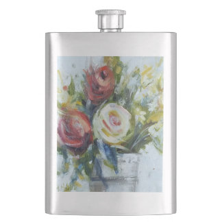 flowers roses bouquet impressionist painting art flask
