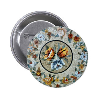 Flowers Round Medallion Decor Marble Mosaic Buttons