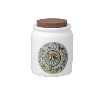 Flowers Round Medallion Decor Marble Mosaic Candy Jar