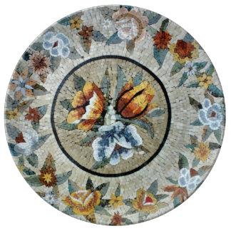 Flowers Round Medallion Decor Marble Mosaic Dinner Plate