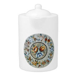 Flowers Round Medallion Decor Marble Mosaic