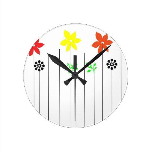 flowers round wall clocks
