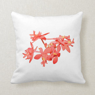 Flowers Salmon Tinted Ground Orchid Throw Pillow