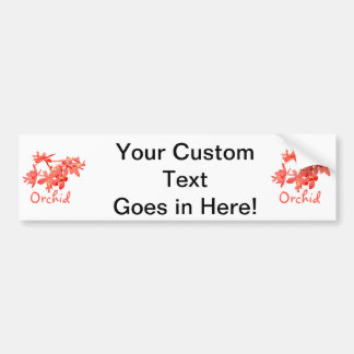 Flowers Salmon Tinted Text Ground Orchid Bumper Sticker