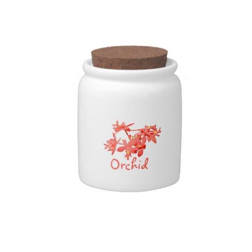 Flowers Salmon Tinted Text Ground Orchid Candy Jar