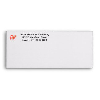 Flowers Salmon Tinted Text Ground Orchid Envelope