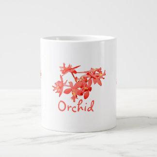 Flowers Salmon Tinted Text Ground Orchid Jumbo Mug