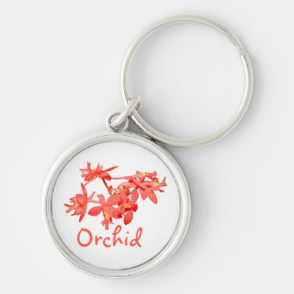 Flowers Salmon Tinted Text Ground Orchid Keychain