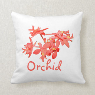 Flowers Salmon Tinted Text Ground Orchid Throw Pillow