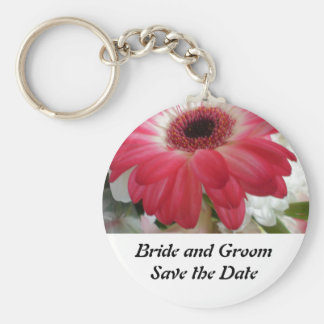 Flowers Save the Date Keychain