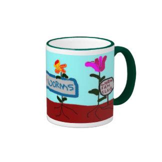 """Flowers Say """"We Love Worms!"""" Mug"""