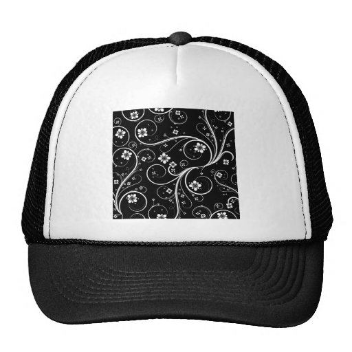 Flowers Scrolls Abstract - Customize Template Mesh Hat