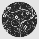 Flowers Scrolls Abstract - Customize Template Round Sticker