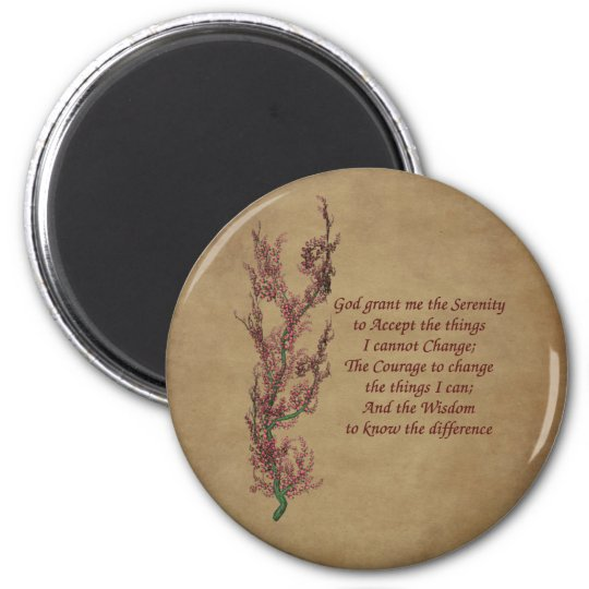 Flowers Serenity Prayer Inspirational Magnet