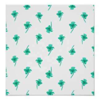 Flowers Silhouette Pattern Design Poster