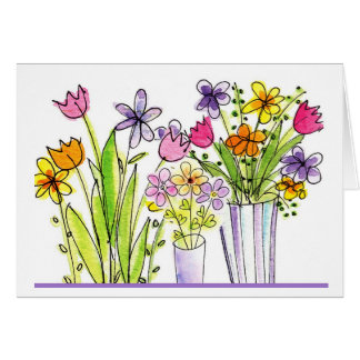 flowers sketch thinking of you greeting card