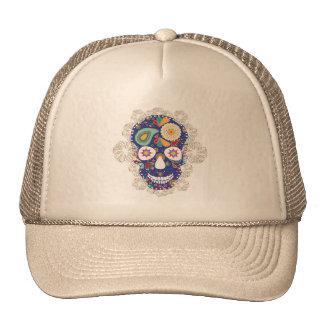 flowers skull trucker hat