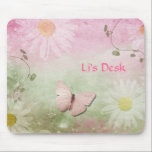 "Flowers   Soft Swirl Vines   Butterfly Feminine Mouse Pad<br><div class=""desc"">Daisies floating with a beautiful pink butterfly and few greenery vines dangle in soft feminine colors.  Add whatever text you wish.  I made mine with initials for my desktop.</div>"