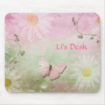 Flowers   Soft Swirl Vines   Butterfly Feminine Mouse Pad