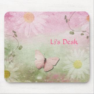 Flowers + Soft Swirl Vines + Butterfly Feminine Mouse Pads