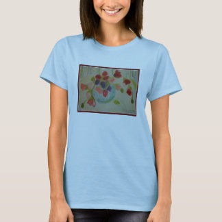 Flowers Spilling Out of a Vase, Blue Tank. T-Shirt