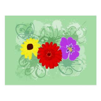 Flowers & Splatters Postcard