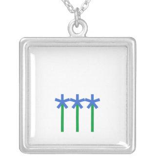Flowers Square Pendant Necklace