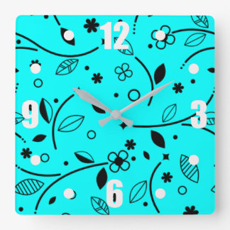 Flowers Square Wall Clock