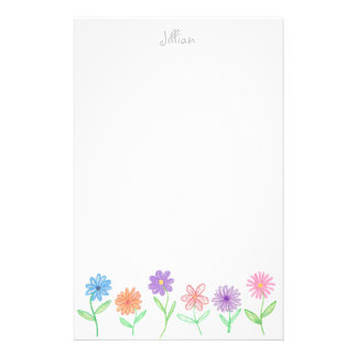 Flowers stationery - personalized